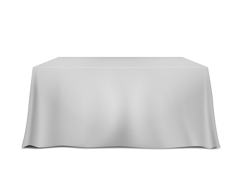 Table covered with blank tablecloth isolated on white background, vector template