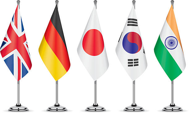 Table flags representing a country vector art illustration
