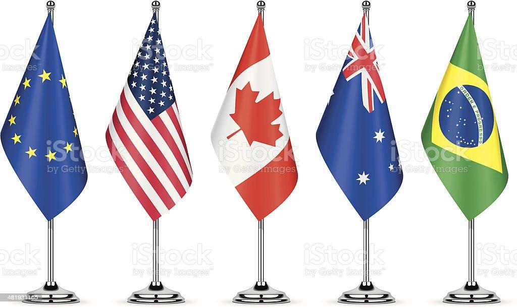 Table Flags vector art illustration