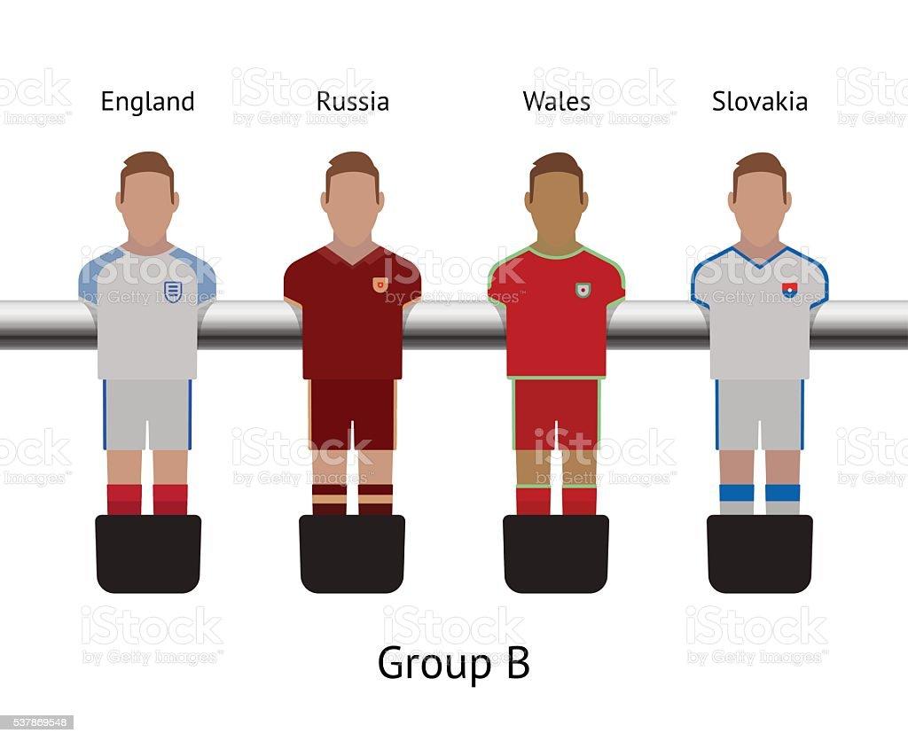 Tableau de ping-pong match de football joueur de football ensemble. Angleterre, en Russie, pays de Galles - Illustration vectorielle