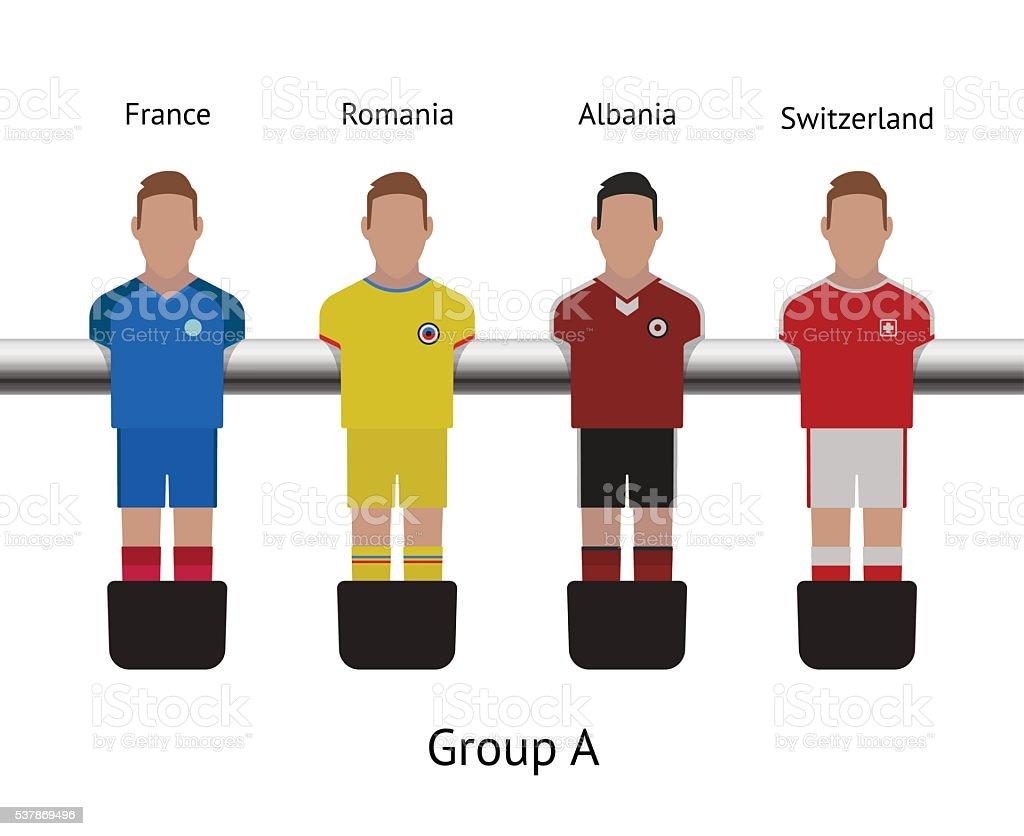 Tableau de ping-pong match de football joueur de football ensemble. La France, Roumanie, l'Albanie - Illustration vectorielle