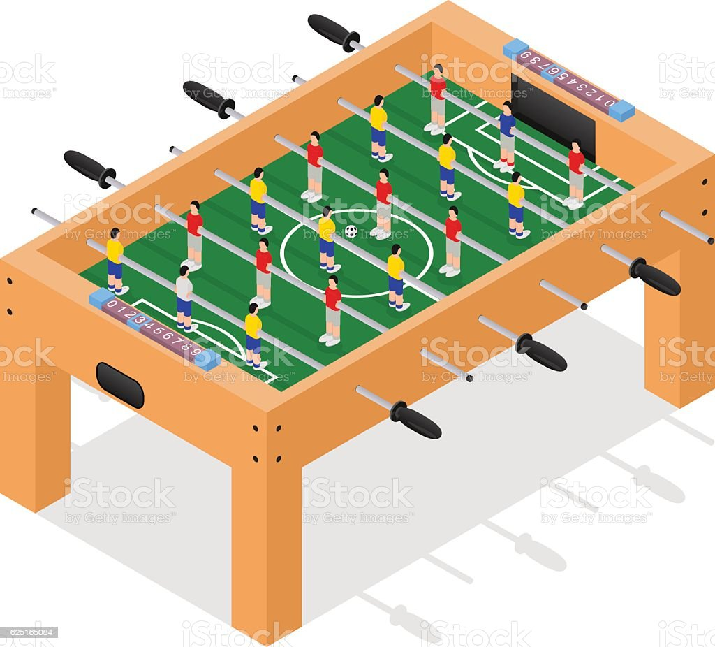 Table Football Game Isometric View. Vector - Illustration vectorielle