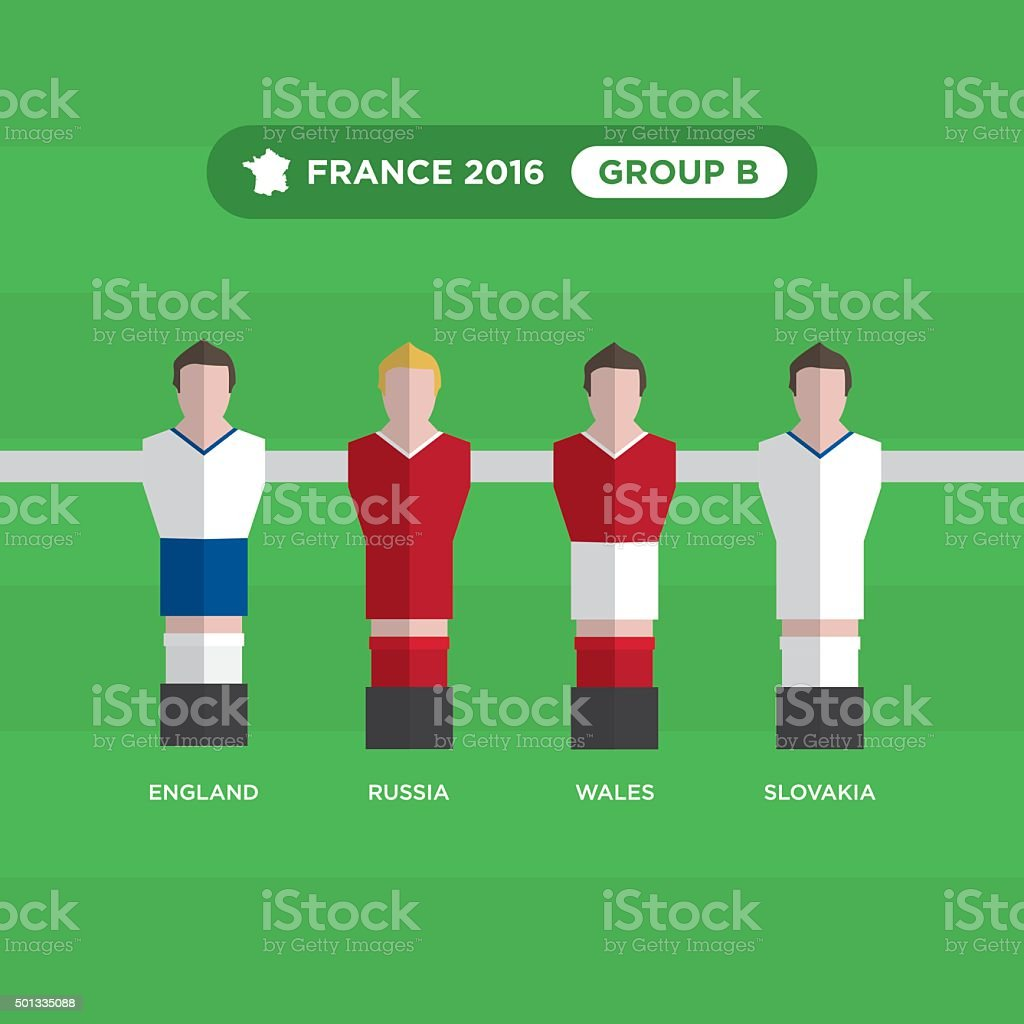 Table joueurs de foot, France 2016, groupe B. - Illustration vectorielle