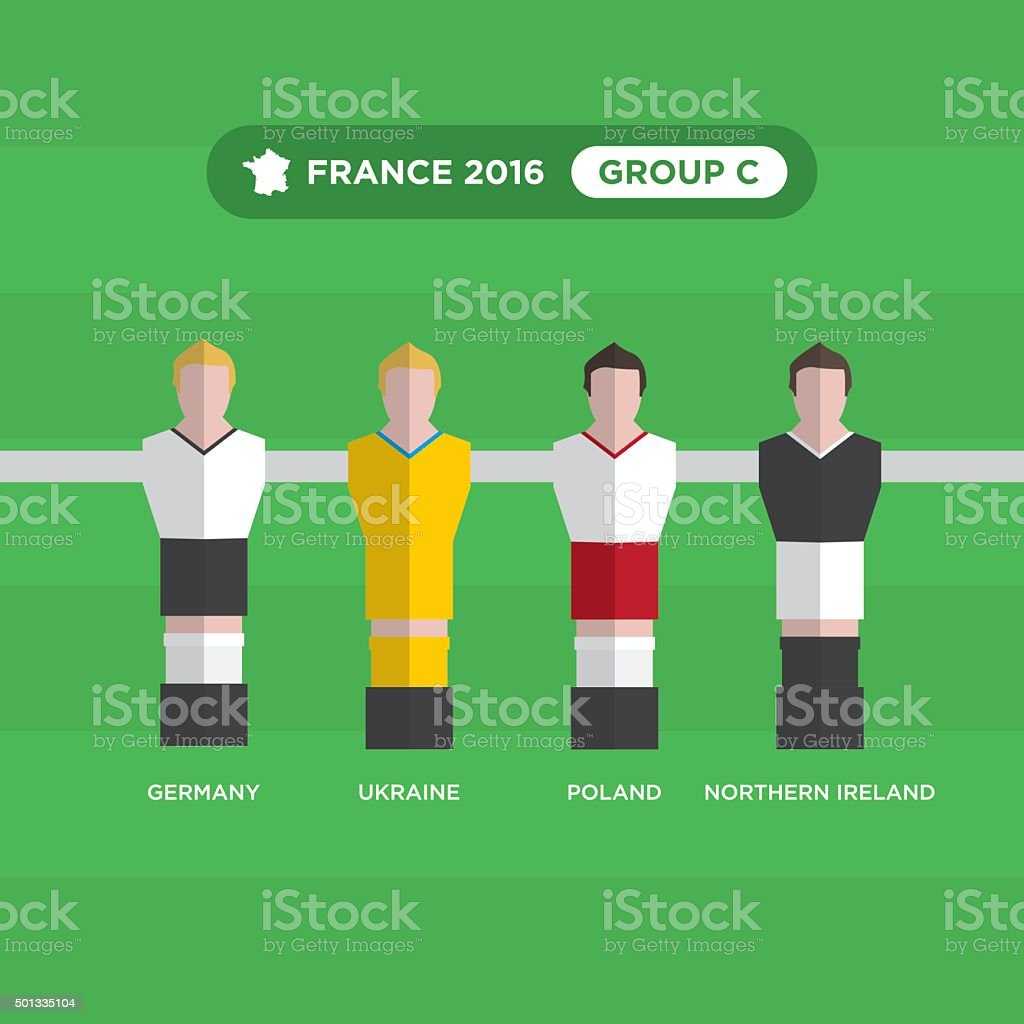 Table joueurs de foot, France 2016, groupe C. - Illustration vectorielle