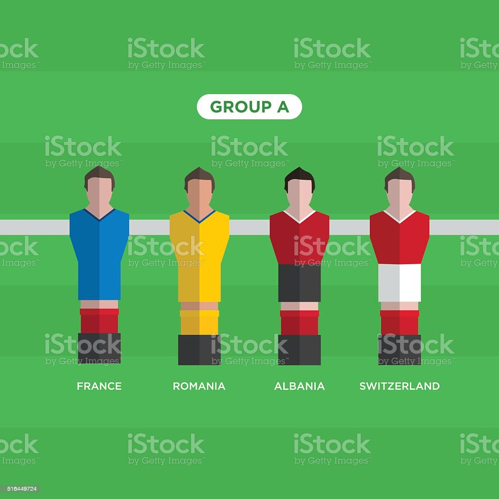 Tableau Football joueurs de Football. Groupe A. - Illustration vectorielle