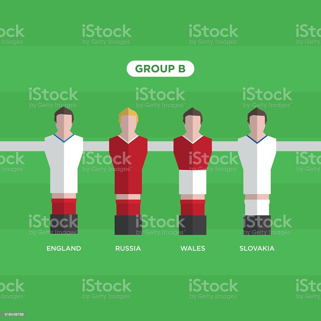 Tableau Football joueurs de Football. Groupe B. - Illustration vectorielle