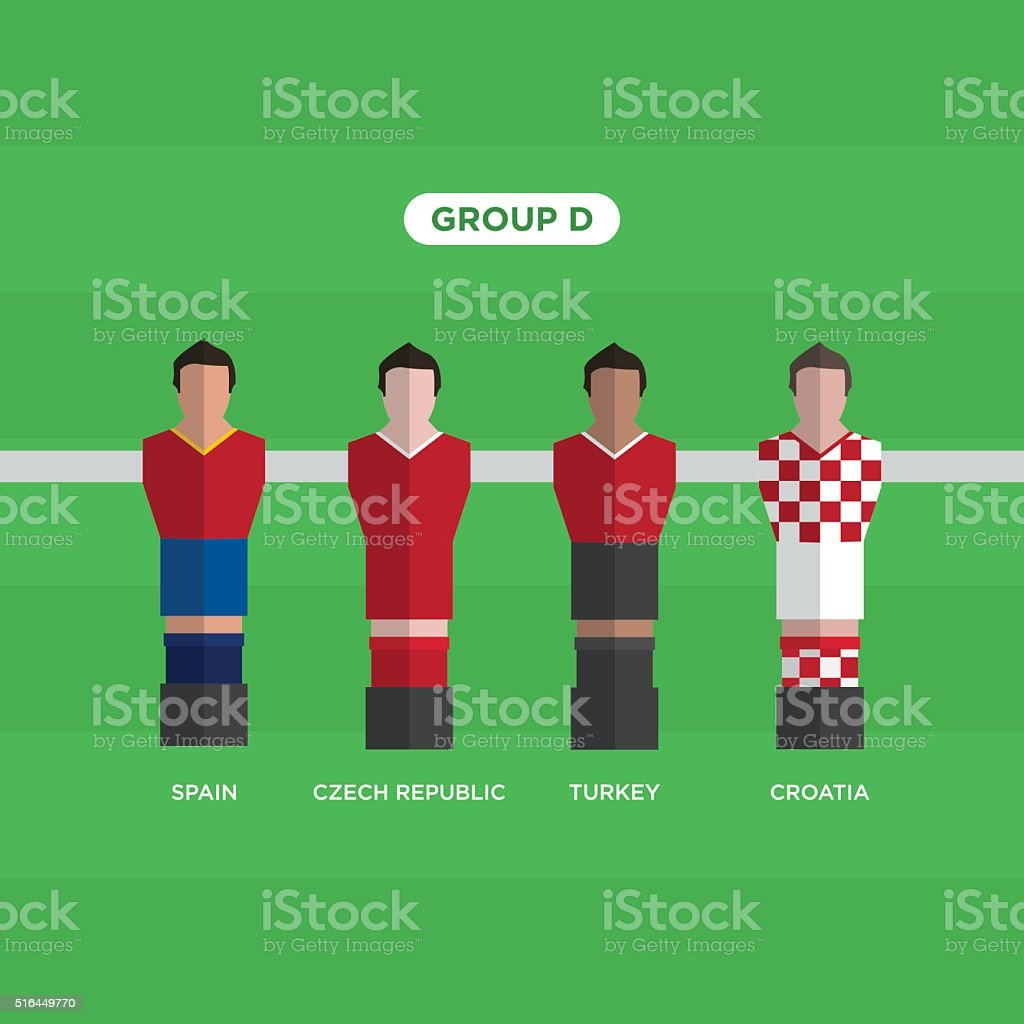 Tableau Football joueurs de Football. Groupe D. - Illustration vectorielle