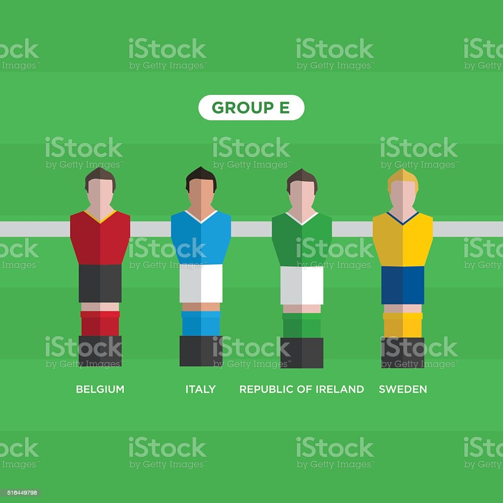 Tableau Football joueurs de Football. Groupe E. - Illustration vectorielle