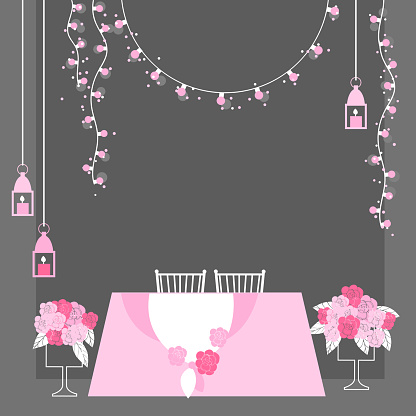 Table for bride and groom. Vector illustration.
