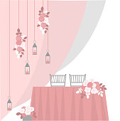 istock Table for bride and groom. Vector illustration. 1205700424