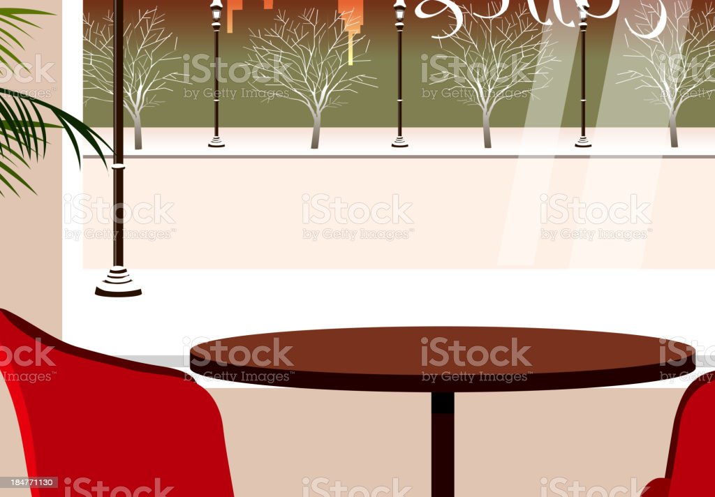 Table for two in cafeteria royalty-free stock vector art