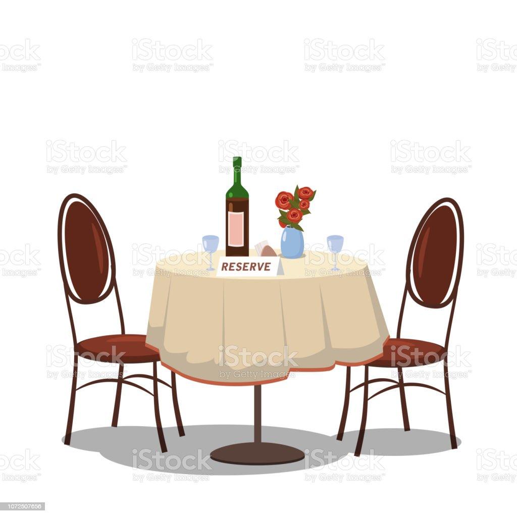 tisch f r zwei personen reserviert wein flasche und zwei. Black Bedroom Furniture Sets. Home Design Ideas