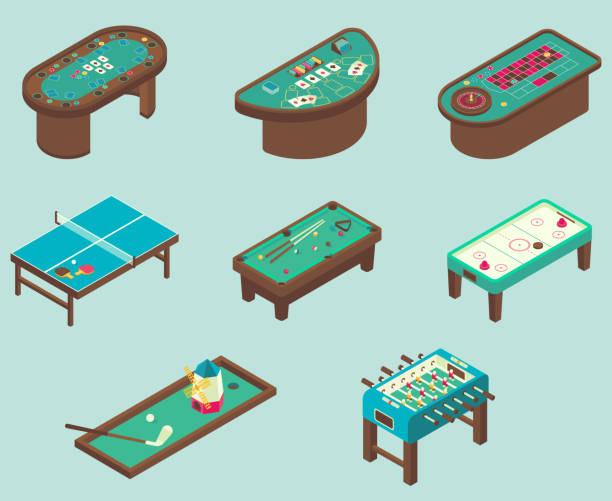 Table game vector flat isometric icon set Table game icon set. Vector isometric illustration of air hockey, pool, football, minigolf, ping pong tables. ping pong table stock illustrations