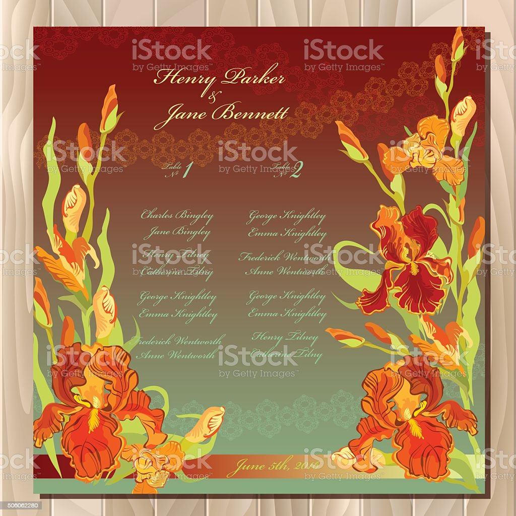 Table guest list background with red iris flowers wedding template background with red iris flowers wedding template royalty free izmirmasajfo Images