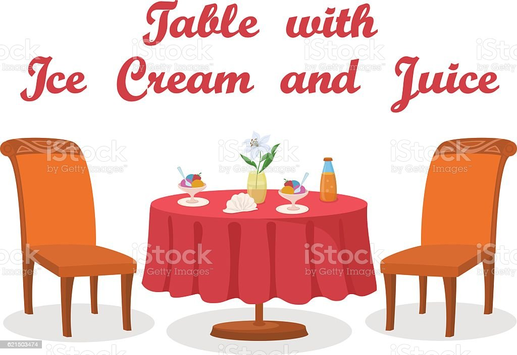 Table, Ice Cream and Juice Isolated table ice cream and juice isolated – cliparts vectoriels et plus d'images de alcool libre de droits