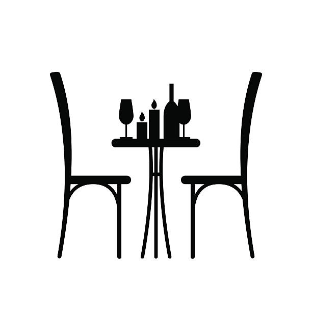 table in the restaurant for two - date night stock illustrations