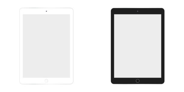 table ipad in white and black color vector eps10. tablet flat style. two  tablet white and black set. - ipad stock illustrations