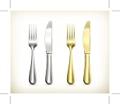 Table knife and fork. Eps10 vector illustration contains transparency and blending effects.