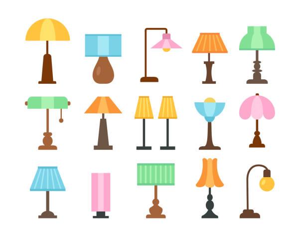 lampy stołowe. płaski zestaw ikon. lampy. oświetlenie domu i biura. elementy wystroju wnętrz. ilustracja wektorowa - lampa elektryczna stock illustrations