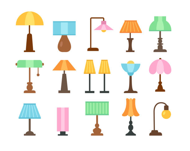 illustrations, cliparts, dessins animés et icônes de lampes de table. ensemble d'icôneplat. luminaires. éclairage à la maison et au bureau. éléments de design d'intérieur. illustration de vecteur - lampe électrique