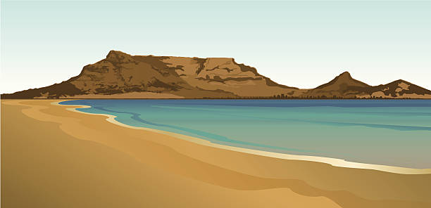 table mountain south africa - cape peninsula stock illustrations