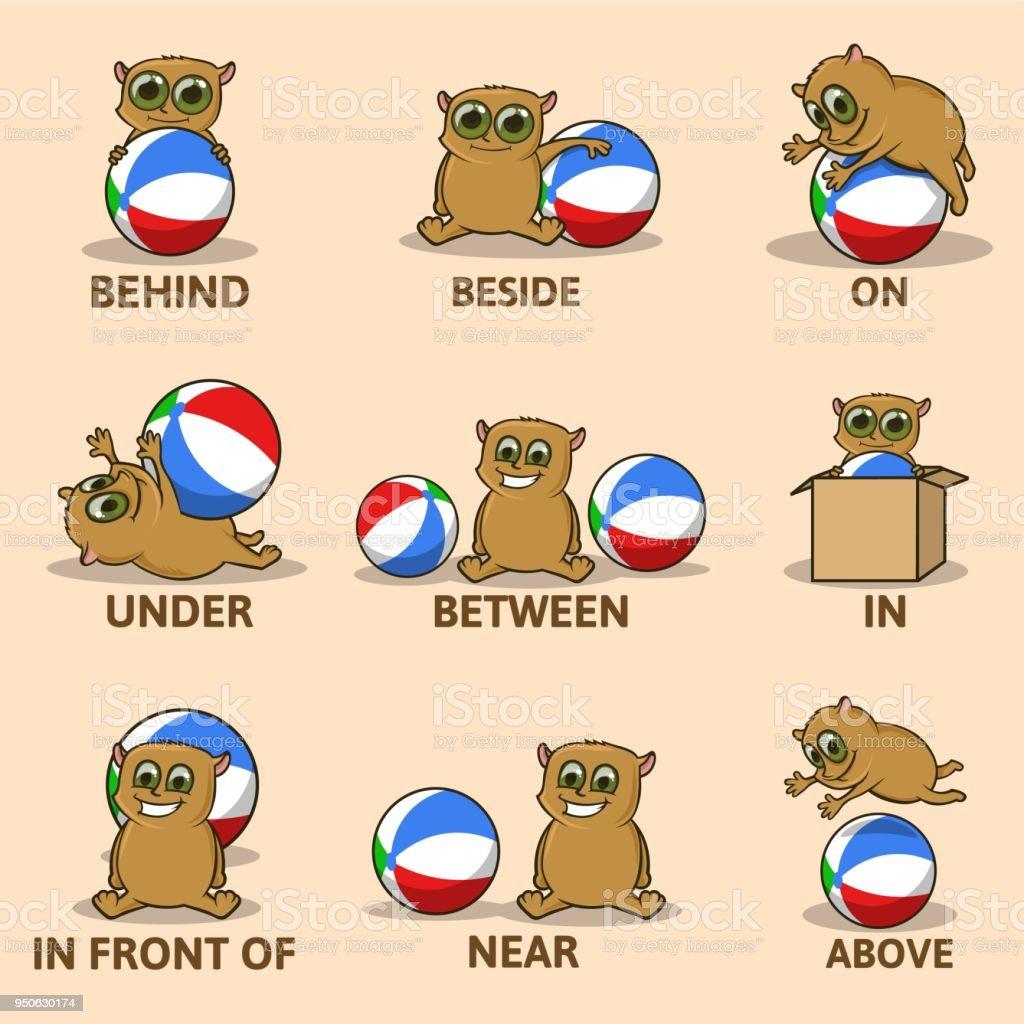 面白い動物キャラクターと場所の前置詞の表子供のための英語子供のための
