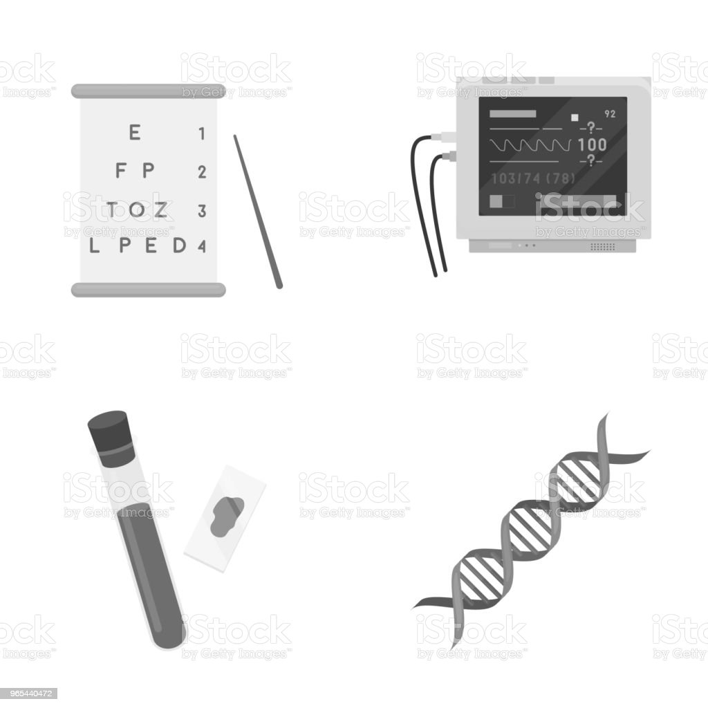 A table of vision tests, a blood test, a DNA code, an ECG apparatus. Medicine set collection icons in monochrome style vector symbol stock illustration web. royalty-free a table of vision tests a blood test a dna code an ecg apparatus medicine set collection icons in monochrome style vector symbol stock illustration web stock vector art & more images of blood