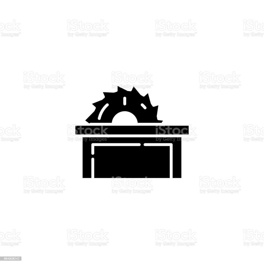 Table saw black icon concept. Table saw flat  vector symbol, sign, illustration. royalty-free table saw black icon concept table saw flat vector symbol sign illustration stock vector art & more images of no people