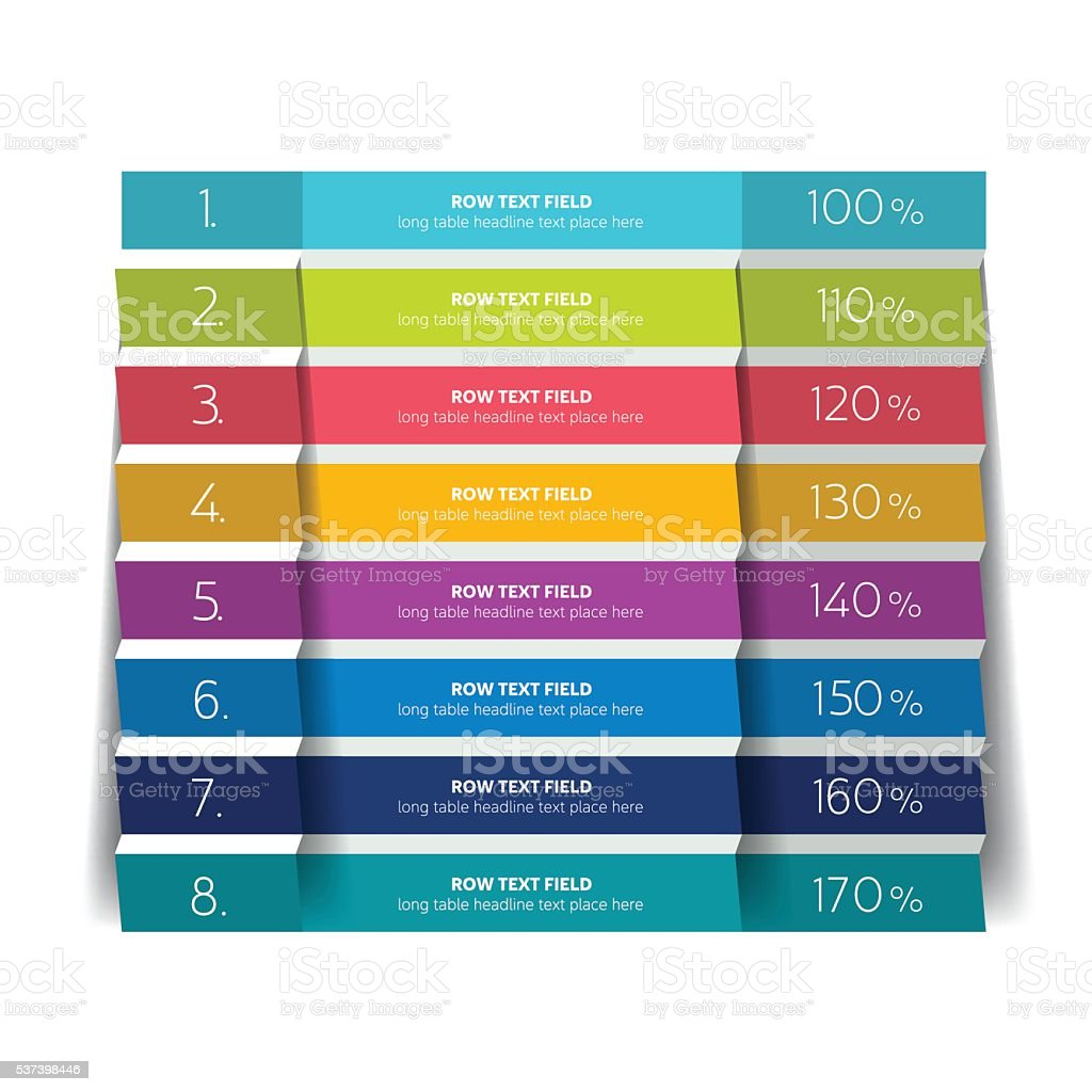 Table schedule design template with 8 row vector banner for Table design on word