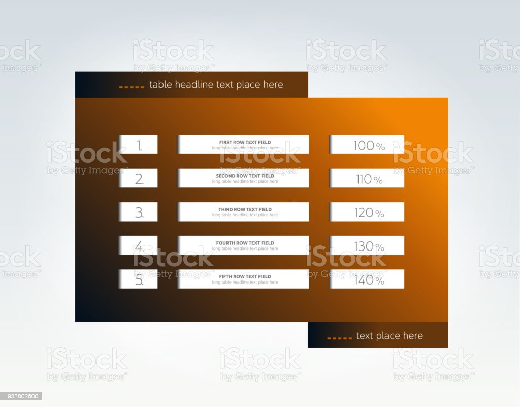 table schedule infographic design template with 5 row vector banner