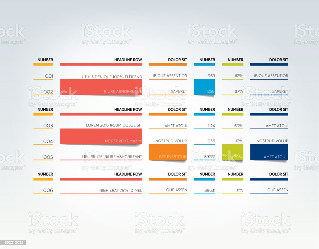 Table Schedule Tab Planner Infographic Design Template Vector Stock