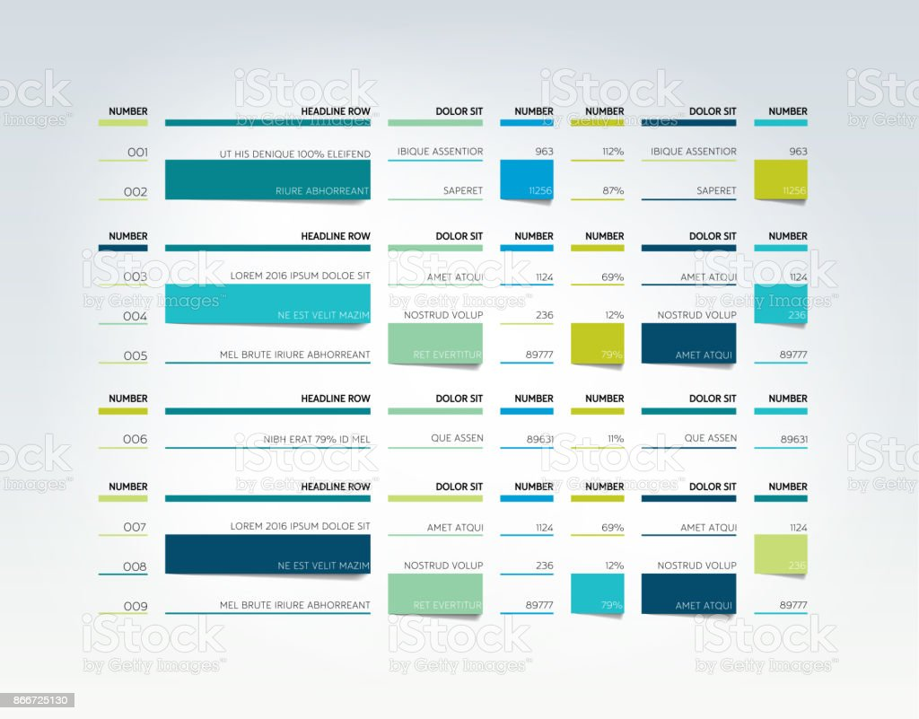 Table, schedule, tab, planner, infographic design template. Vector. vector art illustration