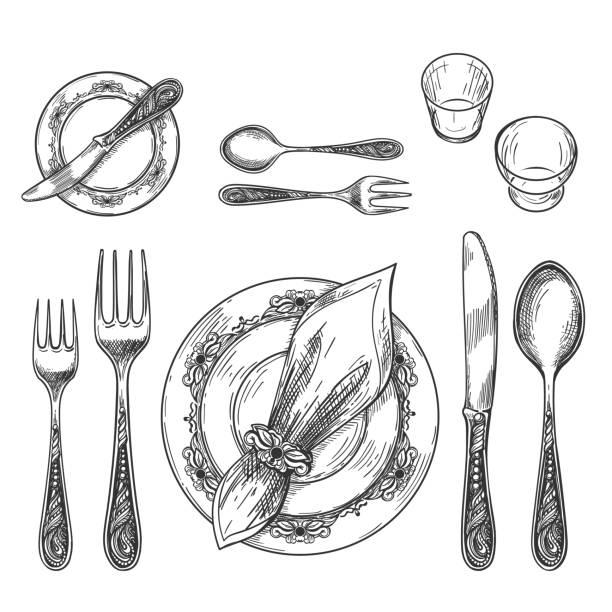 stockillustraties, clipart, cartoons en iconen met de instelling van de tabel tekenen - servet