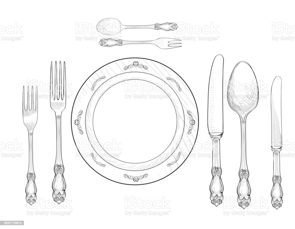 Table Setting Fork Knife Spoon Plate Cutlery Still Life Stock Vector ...