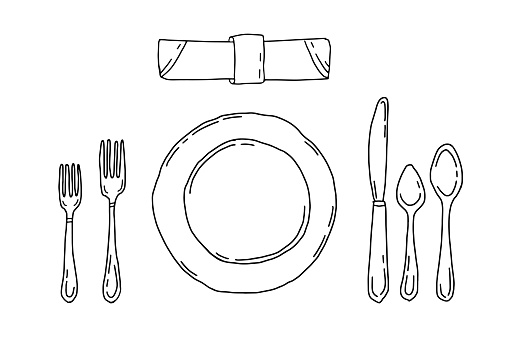 Table setting isolated on a white background. Serving in doodle style with plate, forks, spoons, knife and napkin. Dinner etiquette.