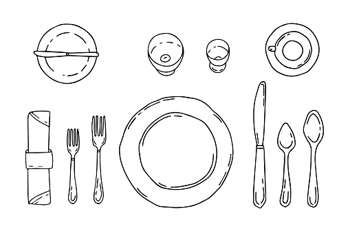 Table setting isolated on a white background. Serving in doodle style with plate, forks, spoons, knife and napkin. Table etiquette.