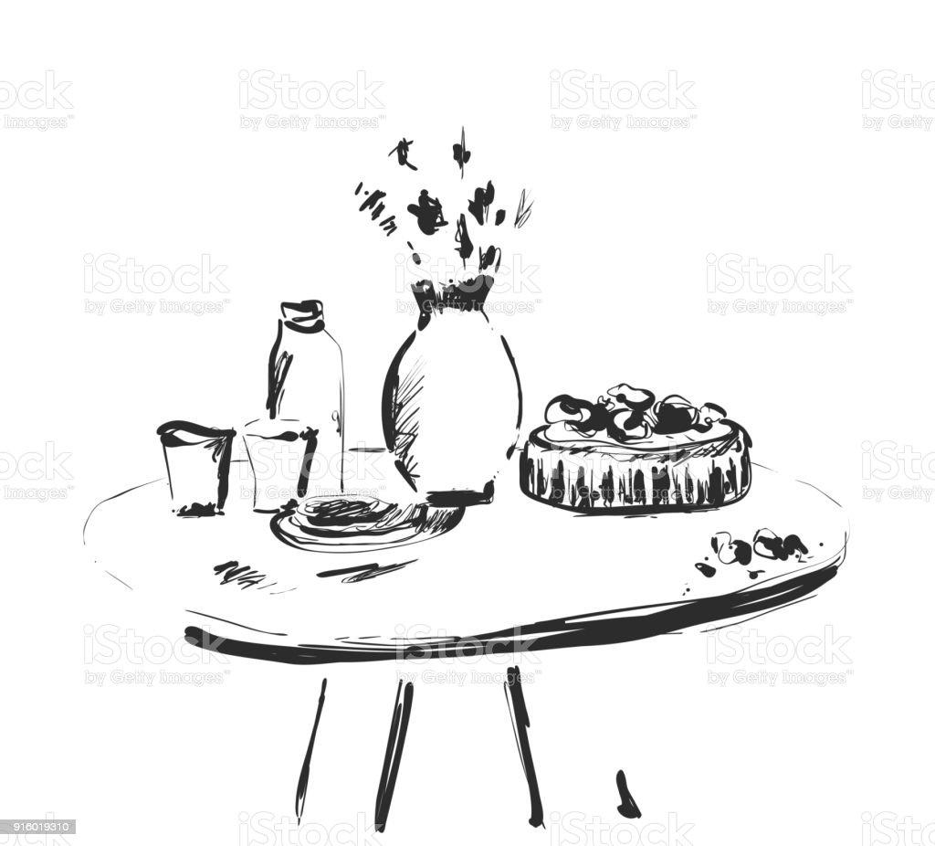 Gedeckten Tisch Setzen Am Wochenende Frühstück Oder Abendessen Skizzieren Sie Handgezeichnete Gerichte Stock Vektor Art und mehr Bilder von