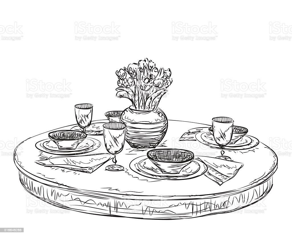 Drawing - Activity Breakfast Crockery Dinner Doodle. Table setting set.  sc 1 st  iStock & Table Setting Set Weekend Breakfast Or Dinner Stock Vector Art ...