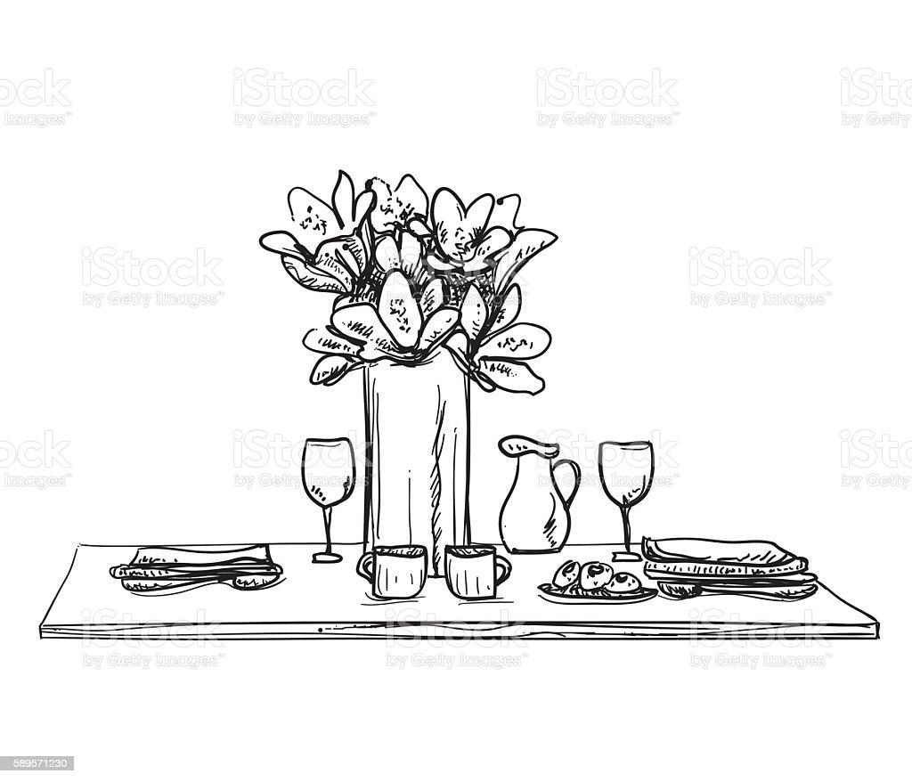 Table setting set. Weekend breakfast or dinner. royalty-free table setting set weekend  sc 1 st  iStock & Table Setting Set Weekend Breakfast Or Dinner Stock Vector Art ...