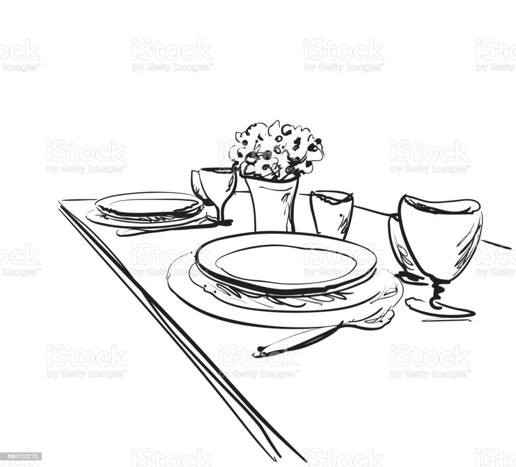 Table Setting Set Weekend Breakfast Or Dinner Stock Vector