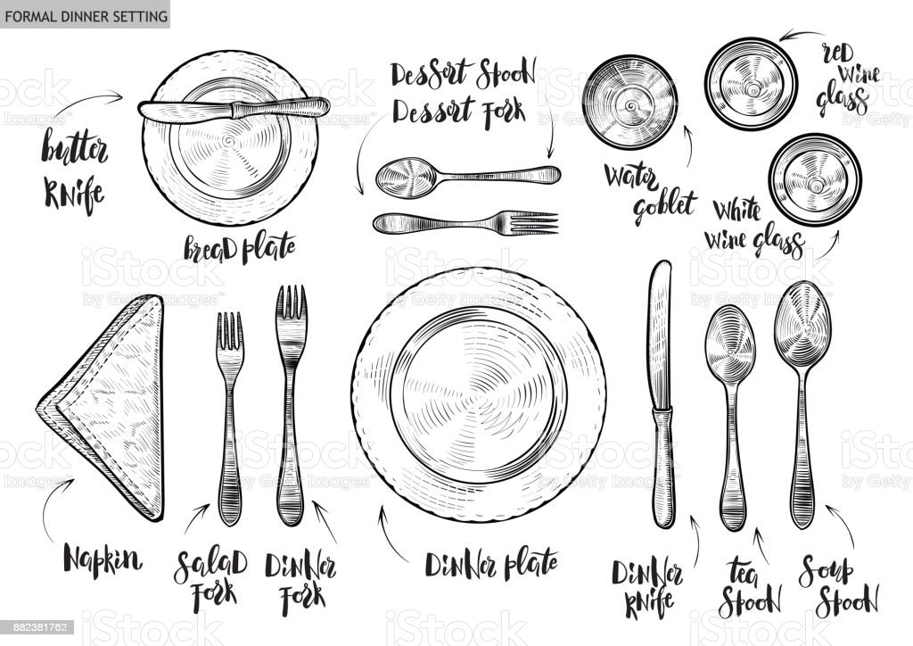Table setting, top view. Vector hand drawn illustrations with original custom font captions. vector art illustration