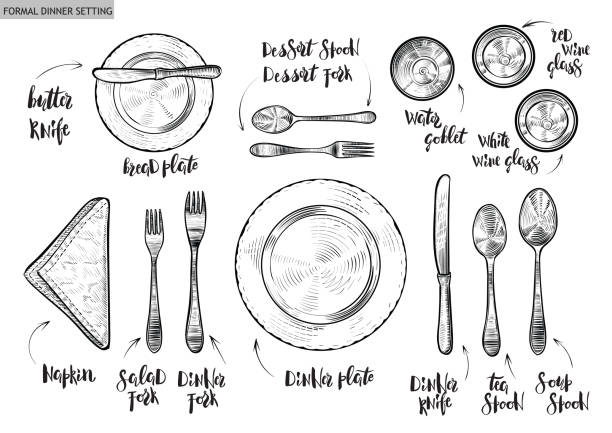 illustrazioni stock, clip art, cartoni animati e icone di tendenza di table setting, top view. vector hand drawn illustrations with original custom font captions. - piatto stoviglie