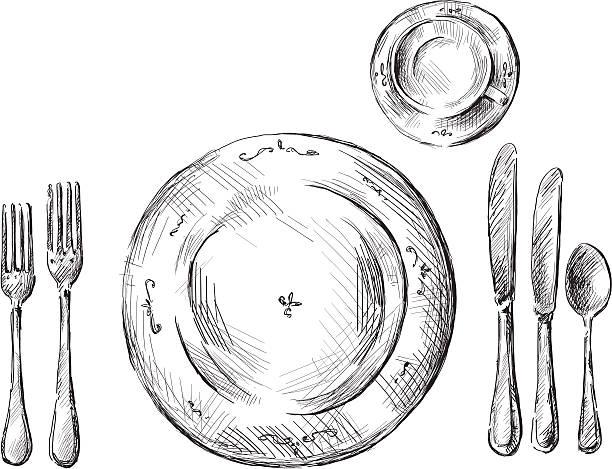 stockillustraties, clipart, cartoons en iconen met table setting vector illustration - gedekte tafel