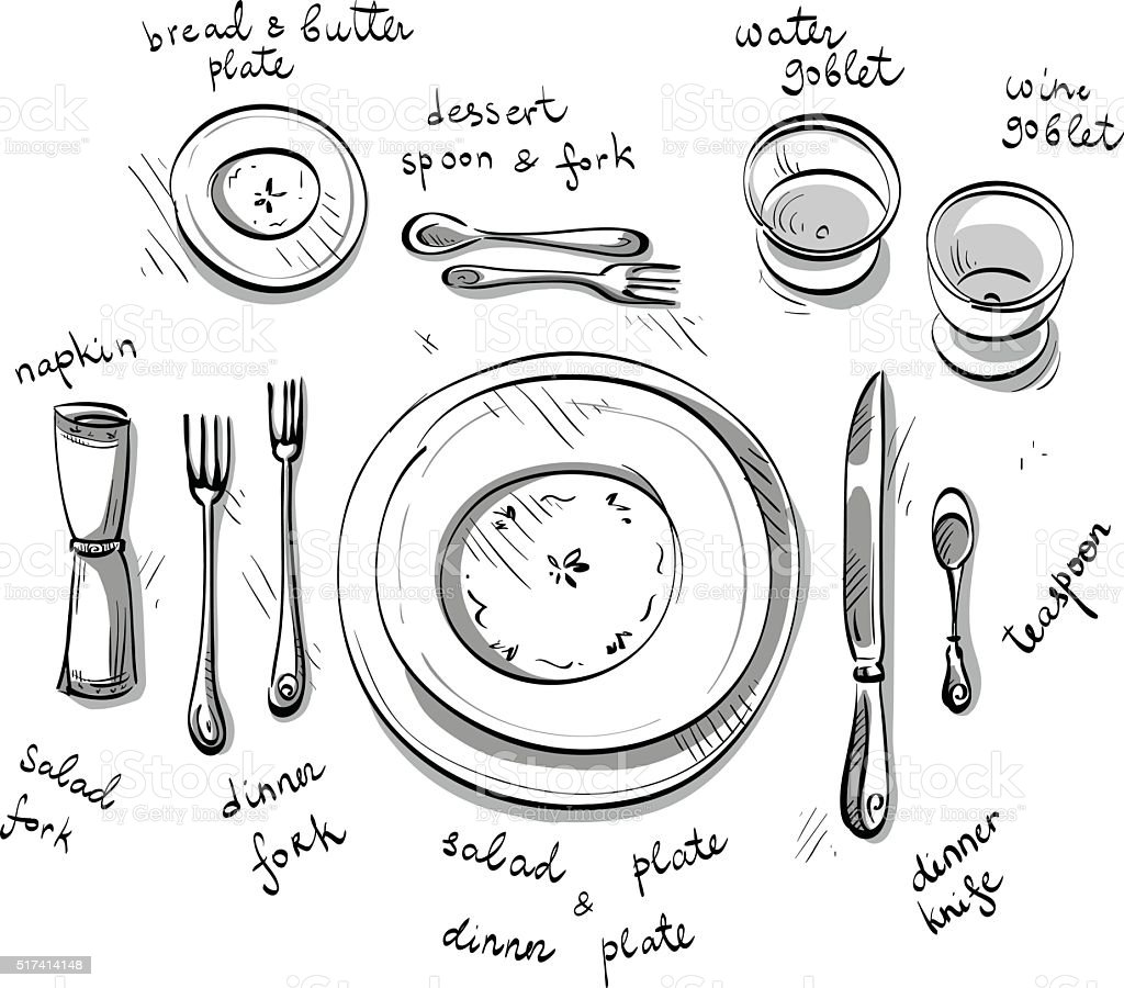 Table Setting Vector Sketch Stock Vector Art & More Images of ...