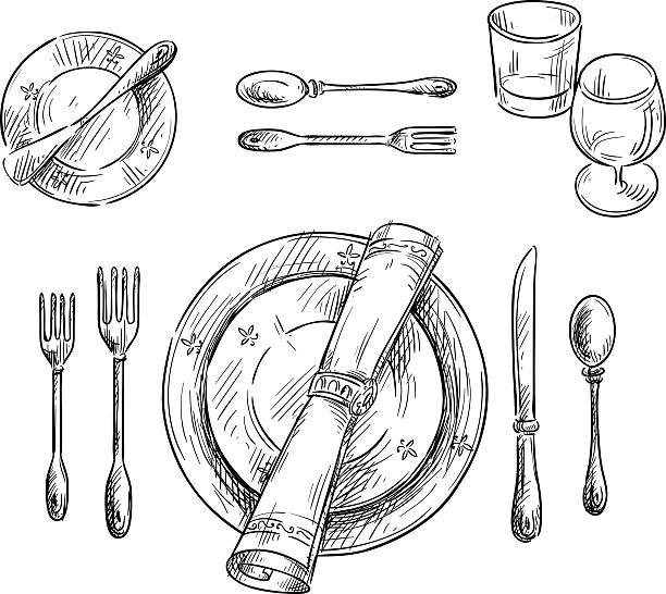stockillustraties, clipart, cartoons en iconen met table setting. vector sketch. - servet