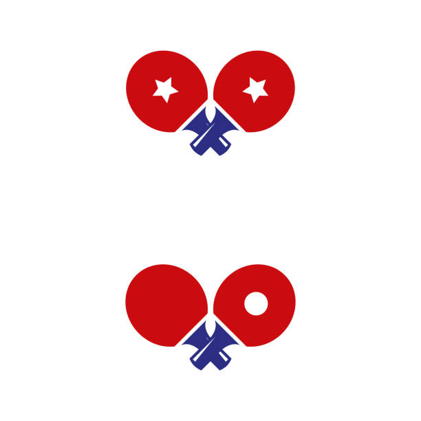 table tennis 3 a set of table tennis icons table tennis racket stock illustrations