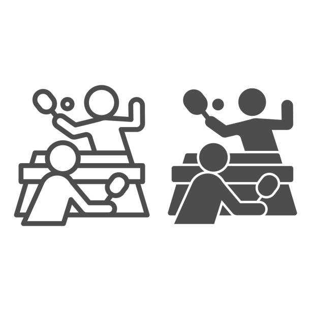 Table tennis and players line and solid icon, sport concept, Ping pong match sign on white background, People playing table tennis icon in outline style for mobile and web design. Vector graphics. Table tennis and players line and solid icon, sport concept, Ping pong match sign on white background, People playing table tennis icon in outline style for mobile and web design. Vector graphics table tennis racket stock illustrations