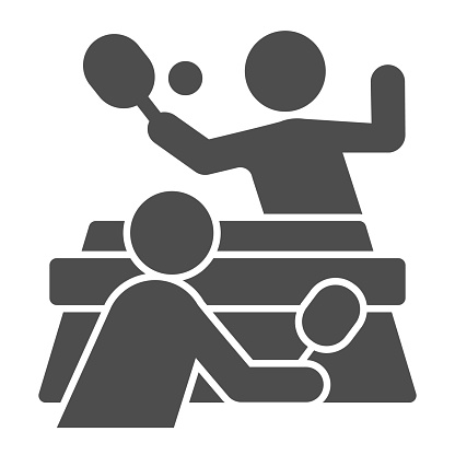 Table tennis and players solid icon, sport concept, Ping pong match sign on white background, People playing table tennis icon in glyph style for mobile and web design. Vector graphics.