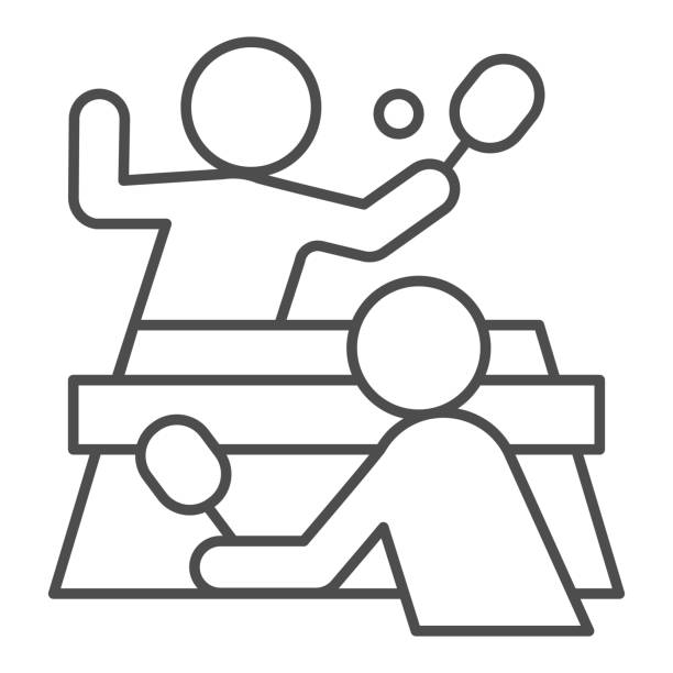 Table tennis and players thin line icon, sport concept, Ping pong match sign on white background, People playing table tennis icon in outline style for mobile and web design. Vector graphics. Table tennis and players thin line icon, sport concept, Ping pong match sign on white background, People playing table tennis icon in outline style for mobile and web design. Vector graphics table tennis racket stock illustrations