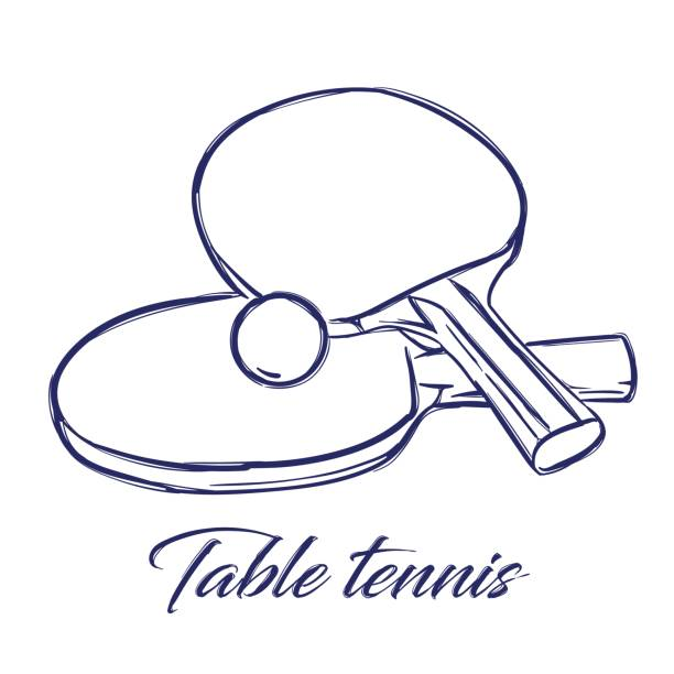 table tennis bats and ball doodle hand drawn sketch table tennis bats and ball ping pong table stock illustrations